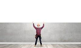Budowniczy z sztandarem Obraz Stock