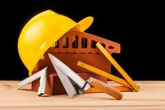 Budowniczych narzędzia na czarnym tle Obraz Royalty Free