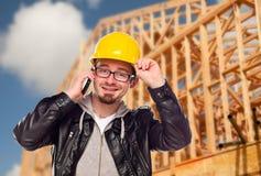 budowy domu telefonu miejsca pracownika potomstwa zdjęcie stock