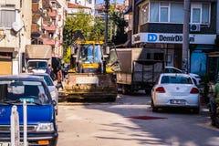 Budowy Drogi pracy teren Na Bocznej ulicie Fotografia Stock