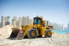 budowy Dubai ciągnik fotografia stock