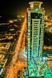Budowy Dubaj noc Zdjęcia Stock