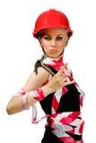 budowy dziewczyny młota hełm zdjęcia royalty free