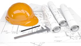 Budowy hełm i calipers w rysunkach obraz stock