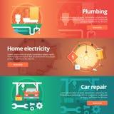 Budowy i budynku sztandary ustawiający Płaskie ilustracje na temacie domowa instalacja wodnokanalizacyjna, elektryczność, samochó ilustracji