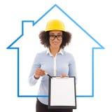 Budowy i nieruchomości pojęcie - piękny afrykanin America Obraz Stock