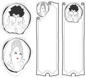 budowy ilustraci zapas pod wektorem Czaruje twarze dziewczyny i sztandary one, Obraz Stock