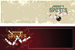 budowy ilustraci zapas pod wektorem Szablon promocyjne pocztówki Salowi sporty kręgle Zdjęcia Stock