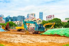 Budowy maszyneria, Singapur śródmieście zdjęcia stock