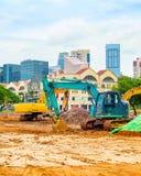 Budowy maszyneria, Singapur ?r?dmie?cie fotografia stock