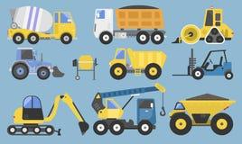 Budowy maszyneria z ciężarówka dźwigowego buldożeru płaskim kolorem żółtym i wyposażenie odtransportowywamy wektorową ilustrację