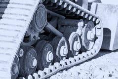 Budowy maszyny śladu stali stalowi łańcuchy Zbiornik toczy excav Fotografia Royalty Free