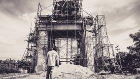 Budowy miejsca lokalni pracownicy w Kanchanaburi, Tajlandia Zdjęcie Stock