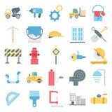 Budowy Odizolowywać Wektorowe ikony Ustawiać Składać się z ciężarówkę, górnika, ściany, narzędzi, bariery, rożka, ruchu drogowego ilustracji