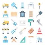 Budowy Odizolowywać Wektorowe ikony Ustawiać Składać się z zbawczą kurtkę, spanner, nal, projektuje narzędzia, torbę, krajacza i  ilustracji