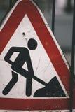 budowy odosobniony drogowego znaka biel Obrazy Stock