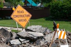 budowy odosobniony drogowego znaka biel Zdjęcia Stock