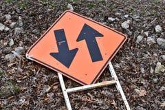 budowy odosobniony drogowego znaka biel Obraz Stock