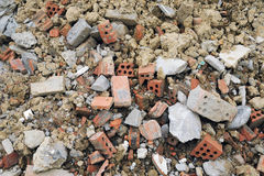 Budowy odpady cegły Zdjęcia Royalty Free