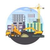 Budowy pojęcie z niedokończonym nowożytnym budynkiem i różnymi ciężkimi maszynami również zwrócić corel ilustracji wektora ilustracja wektor