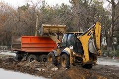 budowy przykopu instalacyjne drogowe pracy Zdjęcia Royalty Free