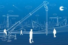Budowy roślina Ludzie pracować Przemysłu maszyneria, żurawie i buldożery, Infrastruktura budynki ilustracyjni Wektorowy desig ilustracji
