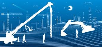 Budowy roślina Ludzie pracować Przemysłu maszyneria, żurawie i buldożery, Infrastruktura miastowi budynki ilustracyjni wektor ilustracji