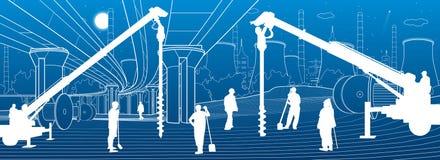 Budowy ro?lina Ludzie pracowa? Przemys?u maszyneria, ?urawie i buldo?ery, Infrastruktura miastowi budynki ilustracyjni wektor royalty ilustracja