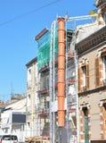 Budowy rusztowanie budynku odświeżanie fotografia royalty free