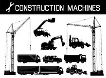 Budowy wyposażenie: ciężarówki, ekskawatory, buldożer, winda, żurawie Szczegółowe sylwetki budów maszyny odizolowywać ilustracji