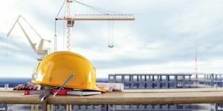 Budowy zbawczy wyposażenie z żurawiami przed niedokończonym budynkiem zdjęcie stock
