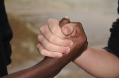 Buds. Two young friends with their handshake Royalty Free Stock Images