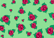 Buds of roses of different size on a green background stock illustration