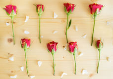 The buds of roses and pearl beads lie on a wooden surface Royalty Free Stock Photo