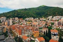 Budua, Montenegro, la vista dal grattacielo nella c Immagine Stock Libera da Diritti