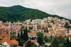 Budua, Montenegro, la vista dal grattacielo nella c Fotografie Stock Libere da Diritti