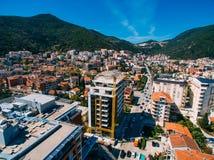 Budua nel Montenegro, nuova città, fotografia aerea Fotografia Stock Libera da Diritti