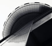 Budujący podkreśla swój zmienne powierzchnie, geometryczne linie i krzywy, obraz royalty free