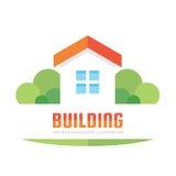 Budujący - wektorowa loga pojęcia ilustracja w mieszkanie stylu dla prezentaci, broszury, strony internetowej i innych kreatywnie royalty ilustracja