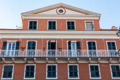 Budujący w starym miasteczku Corfu, Grecja Zdjęcie Royalty Free