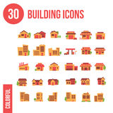 30 Buduje ikon - mieszkanie Zdjęcie Stock