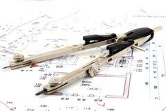 Buduje plan z parą kompasy i toczny m obraz stock