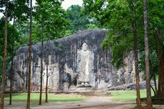 Buduruwagala temple. With well preserved carvings on the wall in Wellawaya Sri Lanka Royalty Free Stock Images