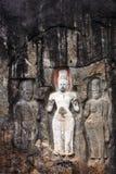 Buduruwagala temple. With well preserved carvings on the wall in Wellawaya Sri Lanka Stock Photo