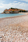 budvaö montenegro nära den stefan svetien Arkivbild