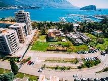 Budva в Черногории, новом городке, воздушном фотографировании Стоковые Изображения