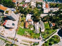 Budva в Черногории, новом городке, воздушном фотографировании Стоковое Фото