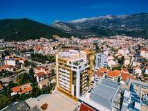 Budva в Черногории, новом городке, воздушном фотографировании Стоковое Изображение RF