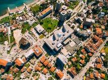 Budva в Черногории, новом городке, воздушном фотографировании Стоковое Изображение