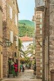 Budva, Черногория - 28-ое августа 2017: Старый городок Budva, Черногория Первый помин этого города - больше чем 26 столетий тому  стоковая фотография